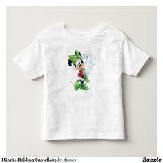 Holiday, Christmas. Disney. Minnie Holding Snowflake. Baby, bebé. Producto disponible en tienda Zazzle. Vestuario, moda. Product available in Zazzle store. Fashion wardrobe. Regalos, Gifts. #camiseta #tshirt