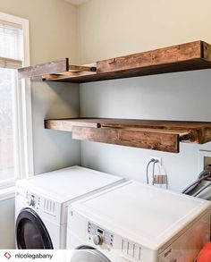 Oh wow! Check out these floating shelf drying racks/pull out closet rods built by we use ours every single day and are so… Oh wow! Check out these floating shelf drying racks/pull out closet rods built by we use ours every single day and are so… Laundry Room Drying Rack, Laundry Room Shelves, Laundry Room Remodel, Laundry Closet, Closet Rod, Laundry Room Organization, Small Laundry, Laundry Room Design, Laundry Rooms