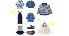 Spring 2017 baby fashion outfit collage: Liberty Summer Blooms Print Bomber Jacket,  Liberty for Mamas &Papas, £29; Floral printed fleece dress, Petit Bateau, £34.50; Wrapover cashmere cardigan in blue, H&M, £19.90; Liberty Strawb…