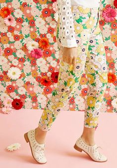 Exuberant Intrigue Pants in Retro Daisy. You're certain to captivate and charm each time you flaunt these colorful pants! #blush #modcloth