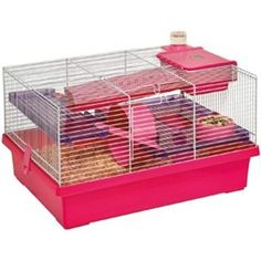 Rosewood Pico Small Animal Cage - Pink Rosewood Pico Pink Hamster Cage is fun and funky for both the… Guinea Pig House, Guinea Pigs, Small Animal Cage, Small Animals, Hedgehog Pet, White Bar, Hamster, Pet Cage, Animal House