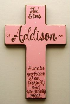 Hand Painted Personalized Child's Wooden Wall Cross Painted Cross Baptism Cross…