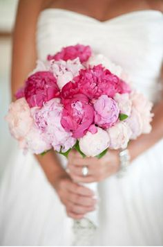 Our favorite trend in bouquets: Peonies! Perfect in every bouquet, these peonies add a delicate melange of pinks to this wedding! @Mandy Bryant Bryant Bryant Dewey Seasons Bridal