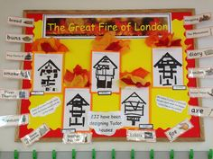 The Great Fire of London Display - great fire, London, History Great Fire Of London, The Great Fire, Fire London, Class Displays, Classroom Displays, Photo Displays, Classroom Ideas, Home Learning, Fun Learning