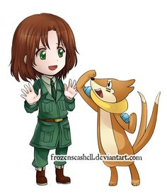 """HetaPoke- Lithuania+ Buizel by FrozenSeashell.deviantart.com on @deviantART - Twenty-sixth in a series pairing Hetalia characters with Pokémon. From the artist's comments: """"I think it makes sense since in London 2012 Lithuania's first gold medal was won in swimming :) Thank you all so much for suggesting Buizel for Lithuania!"""""""