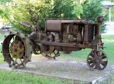 old steel wheeled tractor
