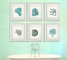 Set of 6 Blue Underwater Scenes 1 - Nautical Print Sea picture beach decor wall decor beach house bathroom decor nautical decor