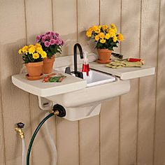 Outdoor Sink Water Station.  No extra plumbing required. great for the kids to wash hands outside or wash fresh veggies from your garden!