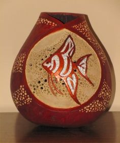 Ocean Angel Fish Gourd. This is a Reggie Eakins carving class, he is a really good instructor.