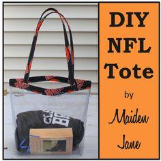 Tote bag made to accommodate NFL Stadium regulations.