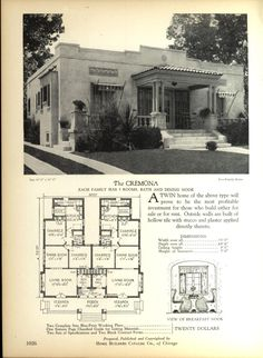 The CREMONA - Home Builders Catalog: plans of all types of small homes by Home Builders Catalog Co.  Published 1928