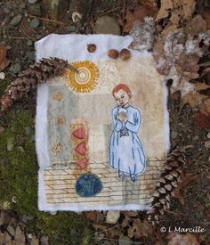 """""""Liam"""" Eco dyed and hand stitched fiber art from Linda Marcille's """"Fiber in the Forest"""" series"""