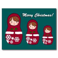 Matryoshka Christmas Postcard