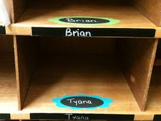 Use chalkboard vinyl on mailboxes.  Easy to erase when child moves or at end of the year.  A Differentiated Kindergarten