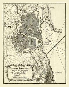 """Vintage Map  """"Plan de Barcelone"""" Spain 1764 https://www.etsy.com/listing/191694495/vintage-map-plan-de-barcelone-spain-1764? #Spain #Barcelone"""