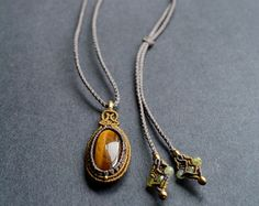 FREE SHIPPING, Tiger eye macrame necklace, macrame pendant, macrame necklace, macrame jewelry, macrame, bohemian jewelry, necklace, pendants