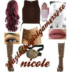 A fashion look from September 2015 featuring lace-up tops, brown shorts and military boots. Browse and shop related looks. Casual Cosplay, Cosplay Outfits, Cosplay Ideas, Costume Ideas, Minecraft Outfits, Aphmau My Street, Aphmau Characters, Aphmau Memes, Aphmau Fan Art
