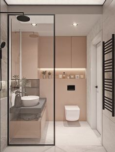 + ideas for beautiful bathroom designs for small spaces blush and white tiled walls, bathroom shower ideas, floating wooden shelf and sink Stylish Bathroom, Beautiful Bathroom Designs, Modern Bathroom, Bathrooms Remodel, Small Bathroom Layout, Beautiful Bathrooms, Tile Bathroom, Bathroom Wall Tile, Minimalist Small Bathrooms