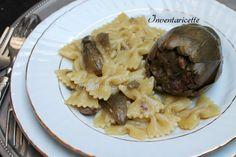 Pasta Carciofi Ripieni è un primo piatto che nasce da un secondo piatto. I carciofi ripieni, buonissimi, durante la cottura rilasciano i loro aromi e profu