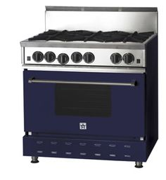 """My new range 36"""" Blue Star in Cobalt Blue...only difference is... this is the RNB, I choose the Platinum with integrated griddle charbroiler..can't wait to cook on it!!!"""