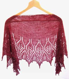 Red Purlple Hand knitted Shawl  with Beads di AtelierBusas su Etsy