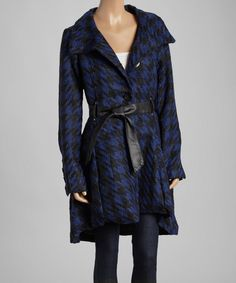 Look at this Yoki Black & Royal Blue Houndstooth Coat on #zulily today!