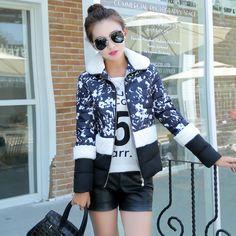 $25.67 (Buy here: https://alitems.com/g/1e8d114494ebda23ff8b16525dc3e8/?i=5&ulp=https%3A%2F%2Fwww.aliexpress.com%2Fitem%2F2016-autumn-and-winter-short-design-print-wadded-jacket-fleece-female-fashion-plus-size-thickening-cotton%2F32711541487.html ) 2016 autumn and winter short design print wadded jacket fleece female fashion plus size thickening cotton-padded jacket female for just $25.67