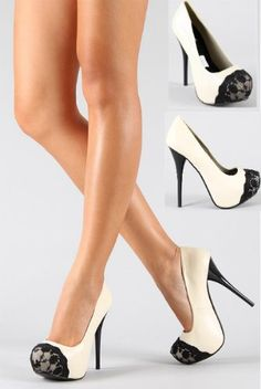 Shoehorne Neutral-127 - Womens Ivory Tribute High Heel Stiletto Platform Court Shoes w/ Black Lace Almond Toe - Avail in Size 3 - 8 UK: Amazon.co.uk: Shoes & Accessories