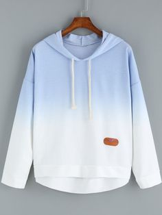 Ombre Hooded Dip Hem Flag Patch Sweatshirt