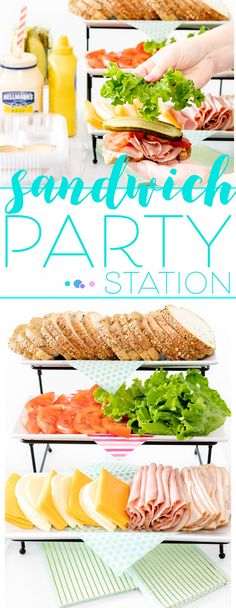 A DIY Sandwich Party Station is such a fun way to host a special lunch at home! my delish + simple ideas that the whole fam will love! It's the perfect time to take advantage & SAVE on fresh Publix Bakery items wyb select sandwich ingredients now! Sandwich Bar, Party Sandwiches, Roast Beef Sandwich, Sandwich Station, Sandwich Platter, Sandwich Ideas, Burger Bar, Healthy Sandwiches, Sandwich Recipes