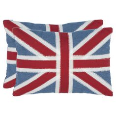 Set of two cotton pillows with a Union Jack design.   Product: Set of 2 pillowsConstruction Material: Cotton