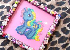 My Little Pony picture frame made out of mini Hama beads by obscurepastels on deviantART