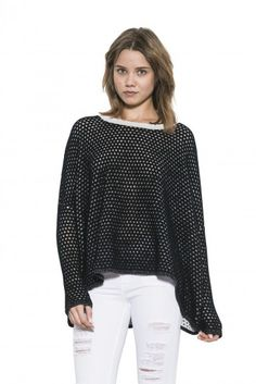 Ema Pullover by one grey day- It's all about the luxurious texture with Ema. Soft and velvety in a perforated stitch in a color, she comes in an oversized boxy fit that collapses like a cape around your torso. Pullover Sweaters, Bell Sleeve Top, Ruffle Blouse, Knitting, Grey, Knits, Stuff To Buy, Color, Clothes