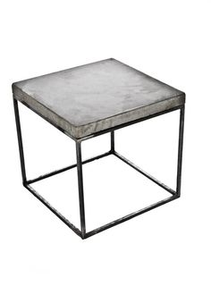 "Concrete Topped 23.5"" Extra Tall Bedside Table / Night Stand / Coffee Table - Minimalist Industrial Mid-Century Modern Design/Free Shipping"
