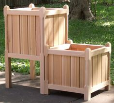 Square Cedar Planter Box Pair