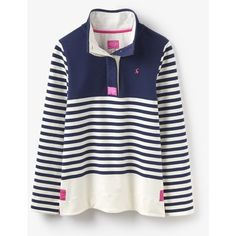 Women's Joules Cowdray Sweater ($55) ❤ liked on Polyvore featuring tops, sweaters, nautical tops, sport top, sports tops, white tops and white sweaters