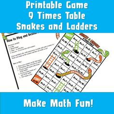 Printable 9 Times Table Snakes and Ladders/ Maths Games / Kids Fun Math Activity Game/ Multiplication Fun/ Maths Times Table Board Game Multiplication Games For Kids, Fun Math Activities, Math Games For Kids, Activity Games, Kids Fun, 9 Times Table, Times Tables Games, Printable Math Games, Printable Activities For Kids