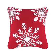 Snowflake Pillow, White Snowflake, Snowflakes, Red Pillows, Modern Throw Pillows, Decorative Throw Pillows, Layout Design, Christmas Bedding, Indoor Christmas Decorations