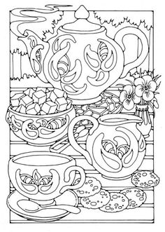 Tea pot cups saucers sugar cubes coloring page.