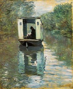 The Studio Boat by Claude Monet. Monet's converted studio boat is a study of light and reflection.