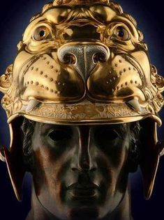 Copy of the golden lion head helmet of Alexander the Great as it is depicted at the Sarcophagus of Sidon Lebanon