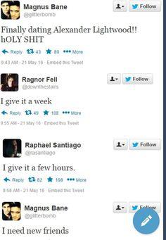 Ragnor and Raphael Santiago bashing on Malec on Twitter | TMI Shadowhunters