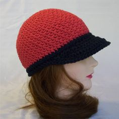 Image detail for -New Hats :: Red and Black Crocheted Cotton Baseball-style cap picture ...