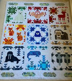 North Stars and Arctic Feathers. Patterns by Elizabeth Hartman. Star Quilt Patterns, Paper Piecing Patterns, Quilting Ideas, Quilting Projects, Fox Quilt, Bird Quilt, Elizabeth Hartman Quilts, Wildlife Quilts, Millefiori Quilts