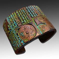 Asian distressed polymer clay cuff bracelet