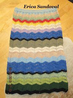 Falda hippie, crochet zig-zag