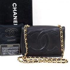 Vintage Chanel Black Huge Logo Chain Shoulder Bag Purse Authentic