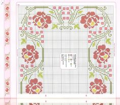 Cross Stitch Borders, Cross Stitch Flowers, Mantel Redondo, Loom Beading, Diy Crafts, Quilts, Embroidery, Blanket, Pattern