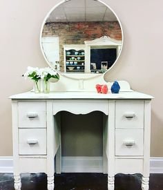 Simply beautiful! This gorgeous vanity was refinished with the classic @cececaldwellspaints Simply White. $249