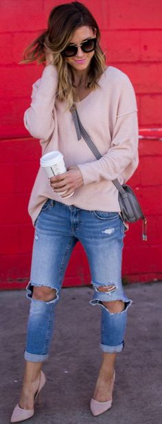 Pink On Denim Fall Street Style Inspo by Cella Jane